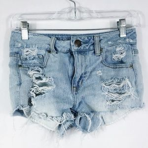 American Eagle Super Distressed Frayed Jean Shorts